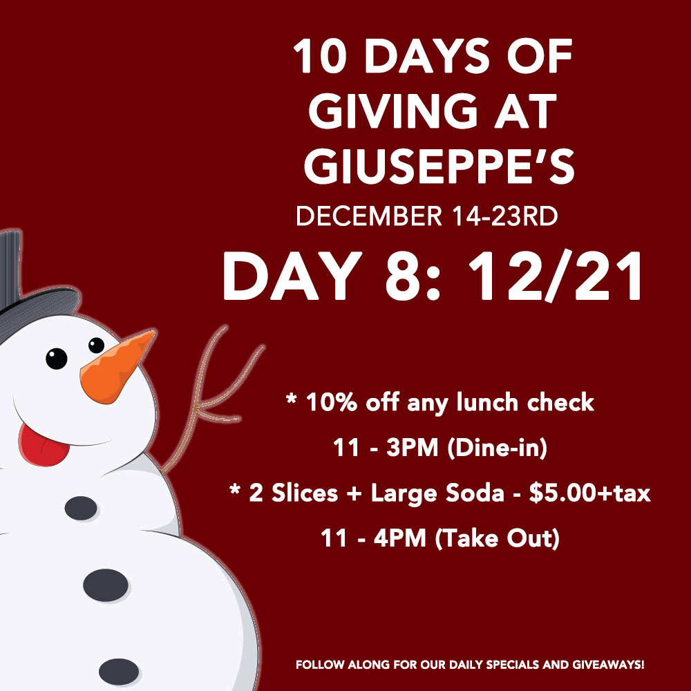 Day Eight: 10 Days of Giuseppe's Giveaways!