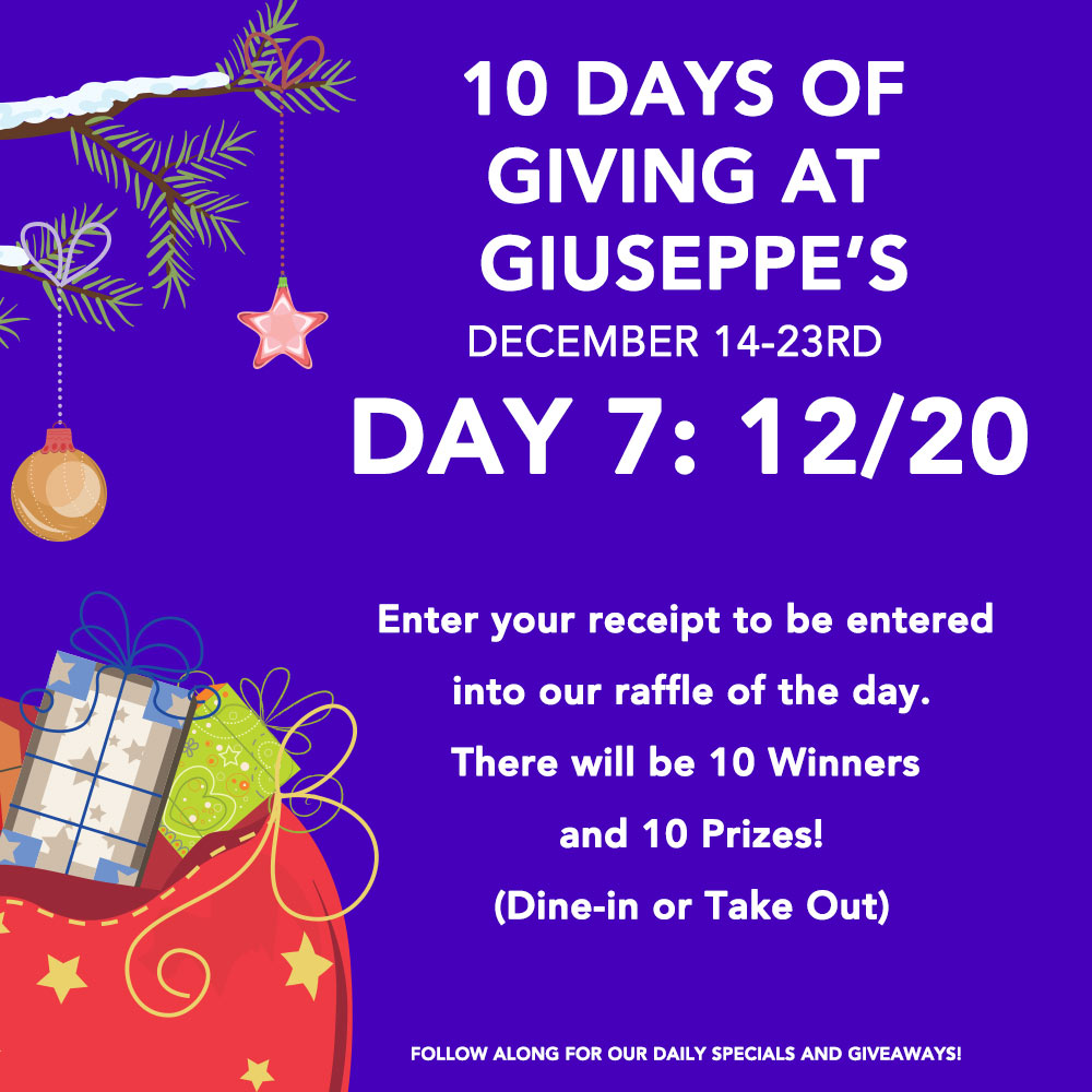 Day Seven: 10 Days of Giuseppe's Giveaways!