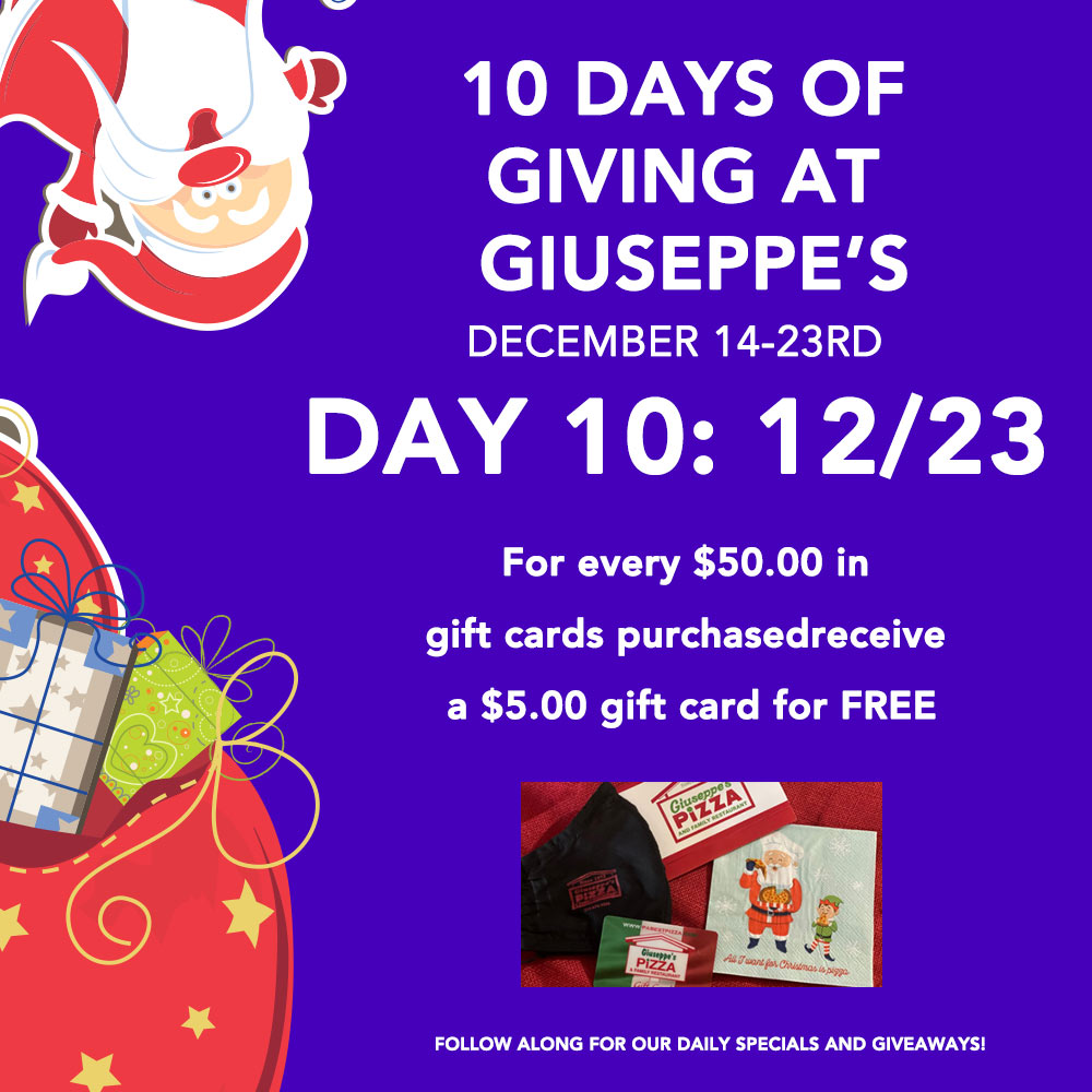 Day Ten: 10 Days of Giuseppe's Giveaways!
