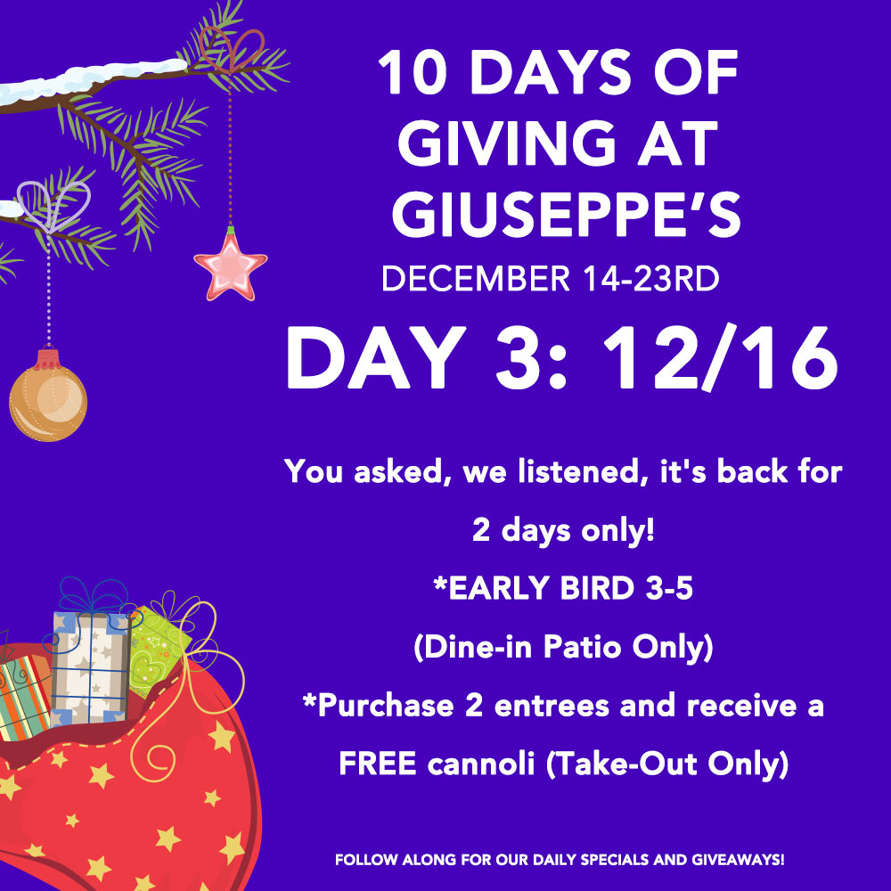 Day Three: 10 Days of Giuseppe's Giveaways!